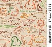 African Animals Crayon Pattern. ...