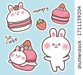 macarons with rabbit hand drawn ... | Shutterstock .eps vector #1711159204