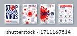 coronavirus poster set with... | Shutterstock .eps vector #1711167514