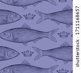 herring in the crown. seamless... | Shutterstock .eps vector #1711168657