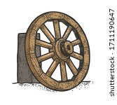 Wooden Cart Wheel On The Side...