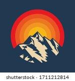 sunset above mountains peak... | Shutterstock .eps vector #1711212814