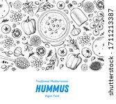hummus cooking and ingredients... | Shutterstock .eps vector #1711213387