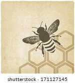 Bee Old Background   Vector...