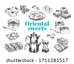 oriental sweet desserts...   Shutterstock .eps vector #1711281517