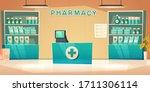 pharmacy interior  modern... | Shutterstock .eps vector #1711306114