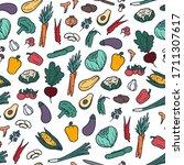 vegetables doodle style hand... | Shutterstock .eps vector #1711307617