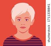 portrait of a happy blond boy.... | Shutterstock .eps vector #1711338841