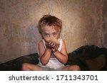 Child Homeless  Beggar Eat A...