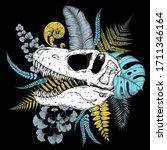 tyrannosaurus rex skull and...   Shutterstock .eps vector #1711346164