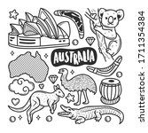 australia icons hand drawn... | Shutterstock .eps vector #1711354384