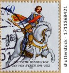 Small photo of GERMANY - CIRCA 1991 a postage stamp printed in Germany showing a rider with armament on a white horse. Text: Jan von Werth 1591 to 1652