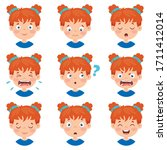 set of different expressions of ... | Shutterstock .eps vector #1711412014