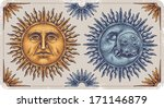 hand drawn sun and moon.