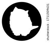 Icon White Cat In Black Circle...