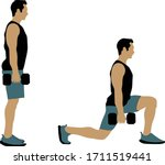 a young man doing lunge walk ...   Shutterstock .eps vector #1711519441
