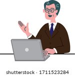 middle aged man in suit with...   Shutterstock .eps vector #1711523284