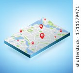 3d isometric map with... | Shutterstock .eps vector #1711579471
