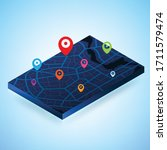 3d isometric map with... | Shutterstock .eps vector #1711579474