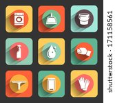cleaning colorful flat design icon set. template elements for web and mobile applications