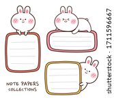 set of note paper with rabbit... | Shutterstock .eps vector #1711596667