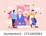 young family having a video... | Shutterstock . vector #1711602061