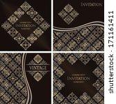 set of vintage original cards... | Shutterstock .eps vector #171161411