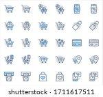 shopping cart vector line icons ... | Shutterstock .eps vector #1711617511