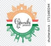 illustration of gandhi jayanti... | Shutterstock .eps vector #1711680244