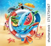 set of summer characters on the ... | Shutterstock .eps vector #1711734367