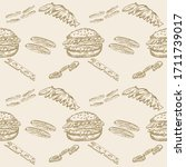 sketch handmade vector seamless ... | Shutterstock .eps vector #1711739017