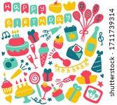 birthdat party icon set. hand... | Shutterstock .eps vector #1711739314