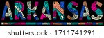 arkansas. multicolor doodle... | Shutterstock .eps vector #1711741291