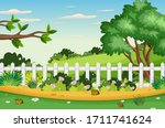 background scene with trees in... | Shutterstock .eps vector #1711741624