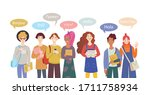 international group of students.... | Shutterstock .eps vector #1711758934