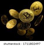 gold coin bitcoin levitates on...   Shutterstock . vector #1711802497