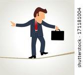 simple cartoon of a businessman ... | Shutterstock .eps vector #171181004