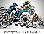 racer riding classic motocross  ...   Shutterstock .eps vector #1711823374