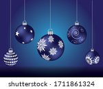 Blue Christmas Balls With...