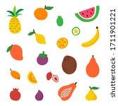 fruit set isolated on white... | Shutterstock .eps vector #1711901221