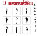 Vector Black Torch Icons Set O...
