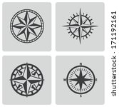 vector black compass icons set... | Shutterstock .eps vector #171192161