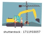 construction site and workers... | Shutterstock .eps vector #1711933057