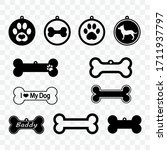 cutout icon of a dog tag. dog... | Shutterstock .eps vector #1711937797