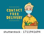 safe contactless food delivery... | Shutterstock .eps vector #1711941694