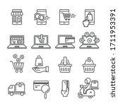 shopping online flat icon set | Shutterstock .eps vector #1711953391