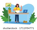beautiful girl is cooking from...   Shutterstock .eps vector #1711954771