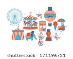 circus fun fair fairground... | Shutterstock .eps vector #171196721