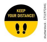keep your distance round floor...   Shutterstock .eps vector #1711972441