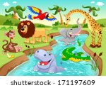Stock vector african animals in the jungle cartoon and vector illustration 171197609